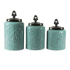 teal kitchen canisters kitchen canister sets blue amazon com