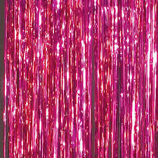 pink foil curtains shindigz