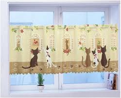 cheap kitchen curtains aliexpress buy high quality cat print coffee curtain kitchen