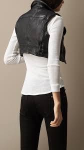 biker waistcoat burberry cropped leather biker waistcoat in black lyst