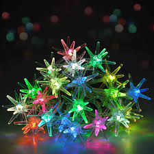 20 led crystal stars christmas lights multi color battery