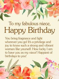 to my fabulous niece happy birthday wishes card birthday