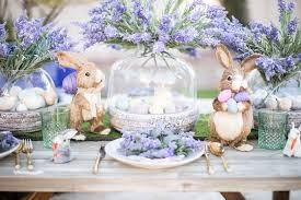 Lavender Decor Brunch Table Inspiration Springtime Hues And Easter Bunnies