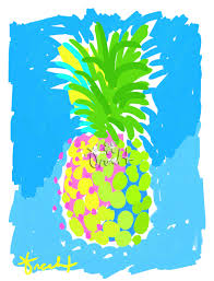 art print 16x20 yellow pineapple pink and green blue by artist
