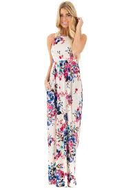 floral maxi dress ivory floral print racerback maxi dress with side pockets lime