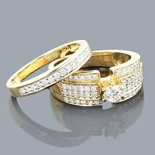 gold wedding rings for women 14k gold womens diamond engagement ring set 1 10ct