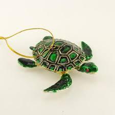 cloisonné green sea turtle ornament