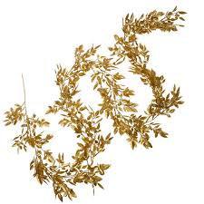 mini gold glittered leaf garland 1 9m decorations for