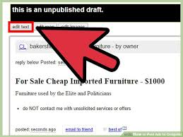 craigslist for sale how to post ads to craigslist with sle ads wikihow