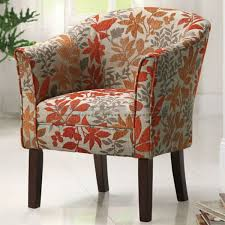 Accent Chairs Coaster Orange Leaf Print Barrel Accent Chair 460407