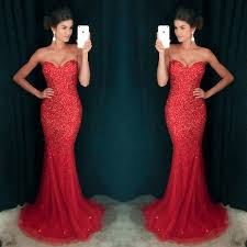 sweetheart red mermaid tulle rhinestone prom dresses pd0254