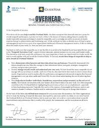 Donation Letter Sample For Non Profit Organization The Overhead Myth Moving Toward An Overhead Solution