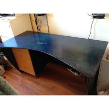 modern wooden curved top desk in blue wood stain aptdeco