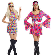 womens lady hippie 60s 70s hippy fancy dress costumes retro flares