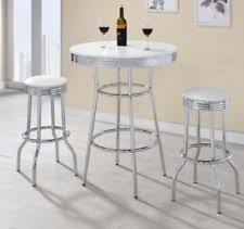 Retro Bar Table 50 S Soda Table And Chairs Set By Coaster Furniture Ebay
