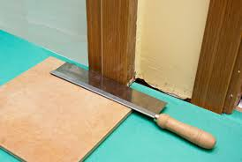 Can You Install Tile Over Laminate Flooring How To Install Tile Around Door Jamb Howtospecialist How To