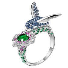 cute jewelry rings images Ufooro cute blue zircon bird title flower ring jewelry silver jpg