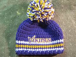 crochet beanie baby hat minnesota vikings colors embroidered