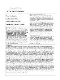 the crucible major works data sheet