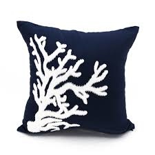 nautical coral pillow cover white coral embroidery navy blue