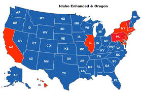 State Map Of Oregon by Ccw Reciprocity Coverage Map For The Idaho Enhanced Ccw Permit