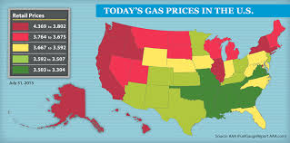 map us gas prices aaa monthly gas price report july 2013 trends and august outlook