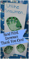 snowman hand print thank you cards me plus 3 today
