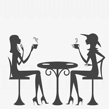 drinking coffee chat silhouette coffee sketch fashion png