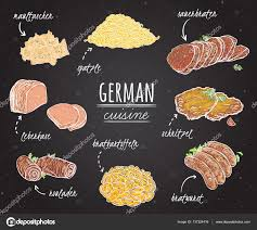 german cuisine menu german cuisine collection of delicious food on chalkboard