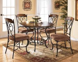 Dining Room Set With Upholstered Chairs by Black Wrought Iron Dining Sets With Varnished Wooden Top Table And