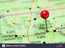 Map Of Cedar Falls Iowa Cedar Falls Pinned On A Map Of Iowa Usa Stock Photo Royalty Free