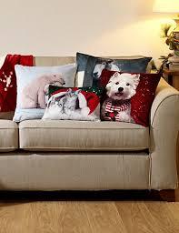 Sofas Marks And Spencer Dog Print Christmas Cushion M U0026s