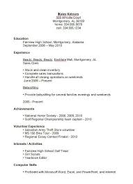 Resume Sample For Student With No Experience download sample resume for high student
