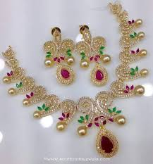 necklace with price images One gram gold necklace set with price south india jewels jpg