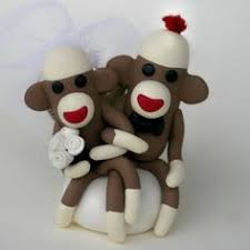 monkey bride and groom wedding cake topper engagement anniversary