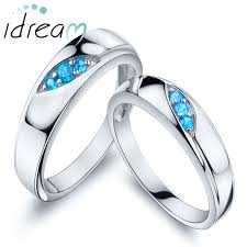 couples jewelry rings images Three stones promise rings for couples 925 sterling silver jpg