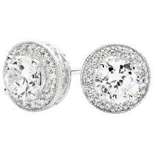zirconia earrings stud earrings with cubic zirconia in sterling silver