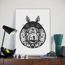 online buy wholesale japanese cartoon painting from china japanese nordic black kawaii totoro miyazaki japanese anime poster a4 big modern abstract wall art picture kids
