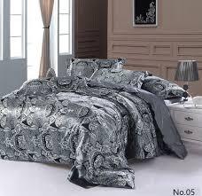 Star Wars Duvet Cover Double 7pcs Silver Grey Paisley Silk Satin Bedding Sets California King