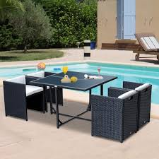 Wicker Dining Patio Furniture Outsunny 5pcs Rattan Wicker Dining Sofa Table Set Outdoor Patio