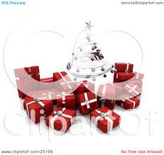 clipart illustration of a silver spiraled christmas tree with red