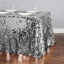 88 x 130 in rectangular payette sequin tablecloth silver for