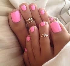 beautiful pink toenail polish color polished toes toe rings and