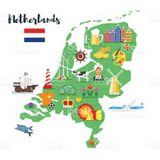 Map Of Holland Vector Flat Style Illustration Of Netherlands Map With Holland