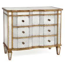 Hayworth Mirrored Chest Silver by Aubrey Hollywood Regency Silver Leaf Mirror Chest Dresser Gold
