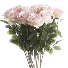 Long Stem Rose Cream And Pink Artificial Long Stem Roses Picks And Stems