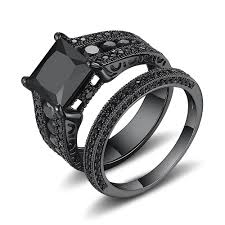 black engagement rings images Black princess cut black 925 sterling silver engagement ring jpg