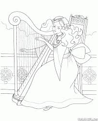 coloring page princess in the garden