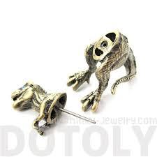 tyrannosaurus t rex dinosaur shaped fake gauge stud earrings in