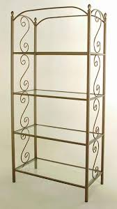 Wrought Iron Bakers Rack With Glass Shelves Gift Store Display Fixtures Racks